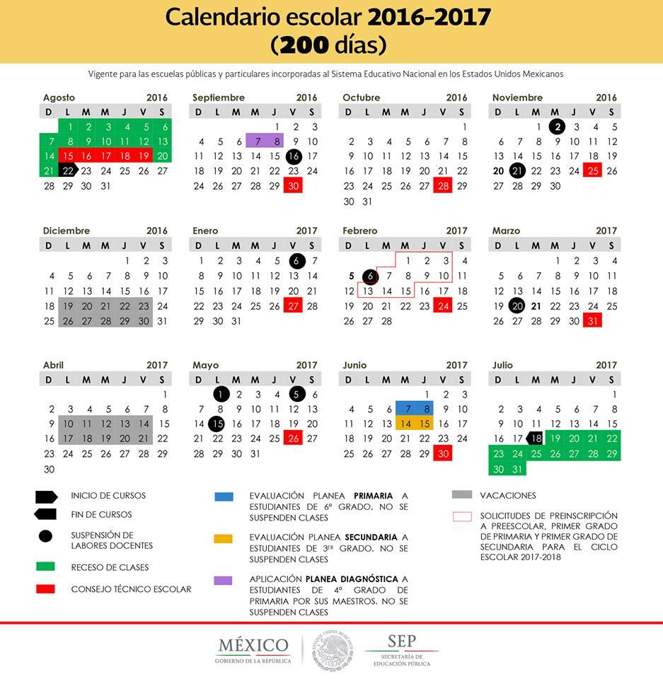 Calendario Escolar SEP 2016 – 2017. uno de 200 días y otro de 185